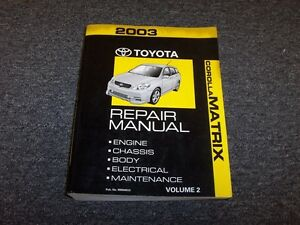 2003 toyota matrix xrs owners manual