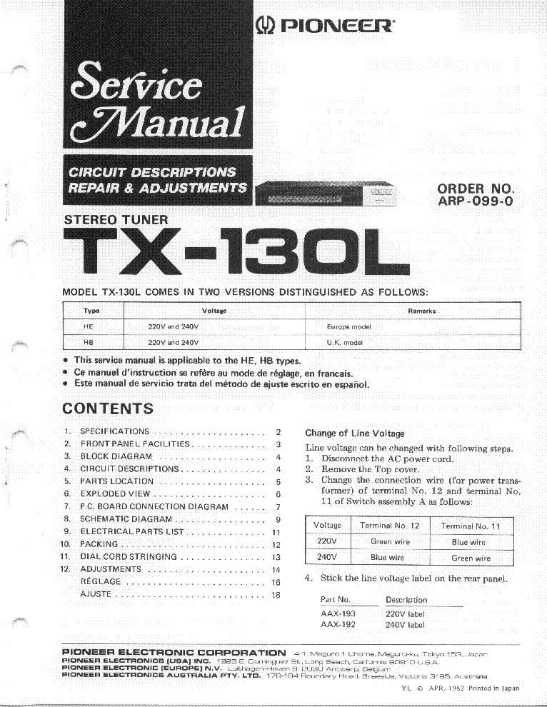pioneer sa-730 service manual