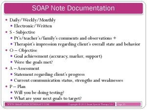 documentation manual for writing soap notes in occupational therapy pdf