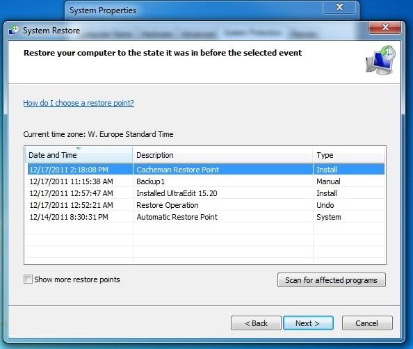manually restore registry from backup