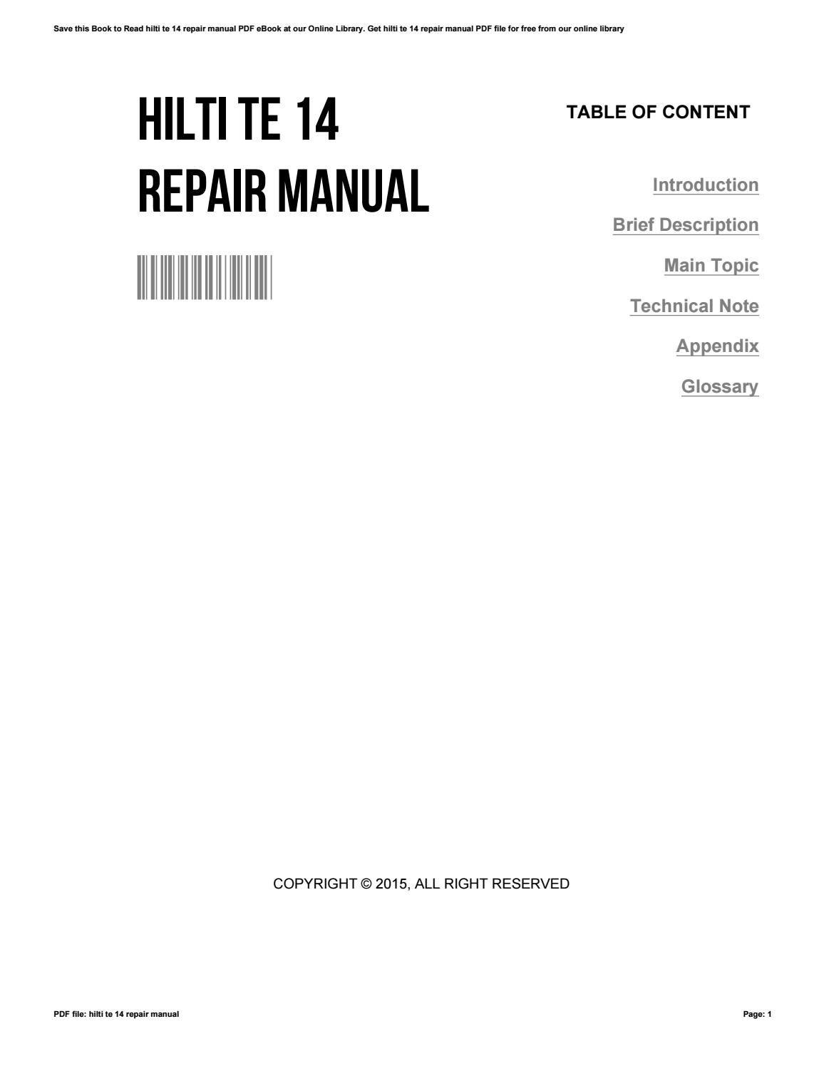 hilti te 54 service manuals