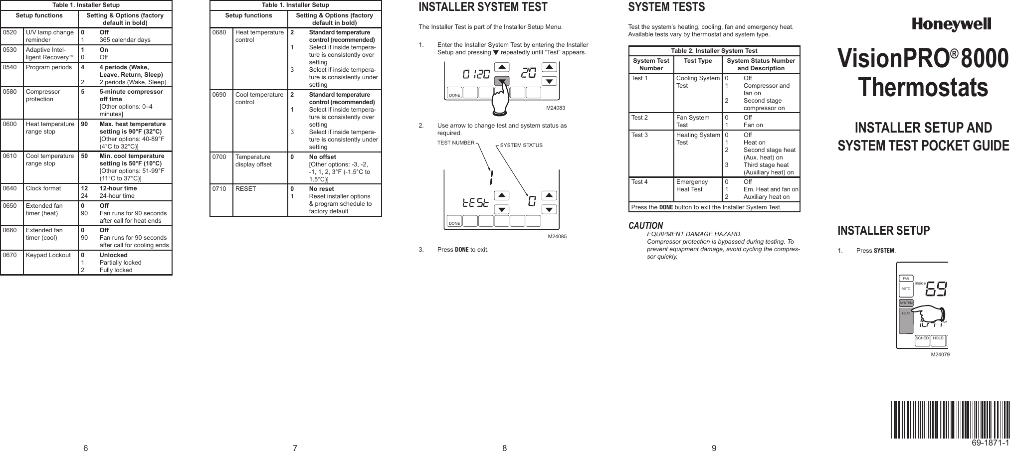 honeywell 8000 thermostat user manual