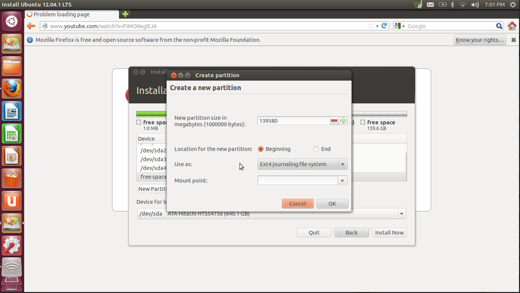 how to install ubuntu 12.04 manual partition