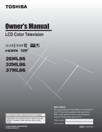 toshiba regza 37 lcd manual